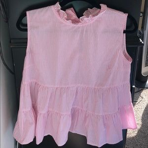 Shein Striped Frocked Tank in Pink Size Large